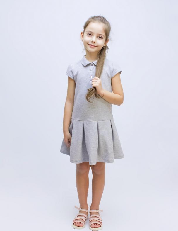Платье 120206 Серый меланж