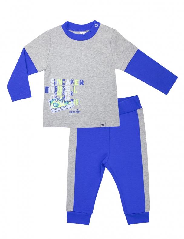 Костюм (футболка д.р. + брюки) SMIL 117205 Синий
