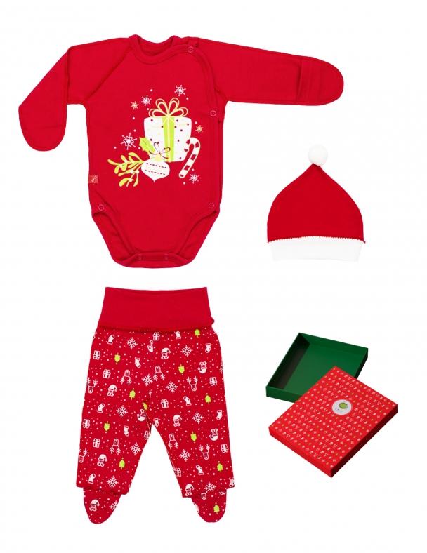 Комплект (боди-распашонка,ползунки-штанишки,шапка) в коробке 109973 Красный