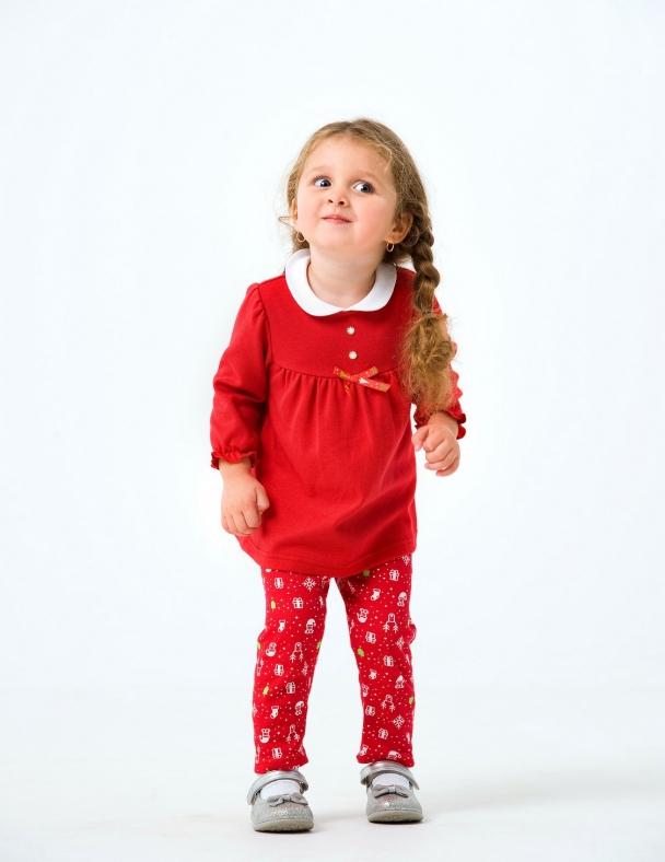 Комплект (платье, лосины) в коробке 109977 Красный