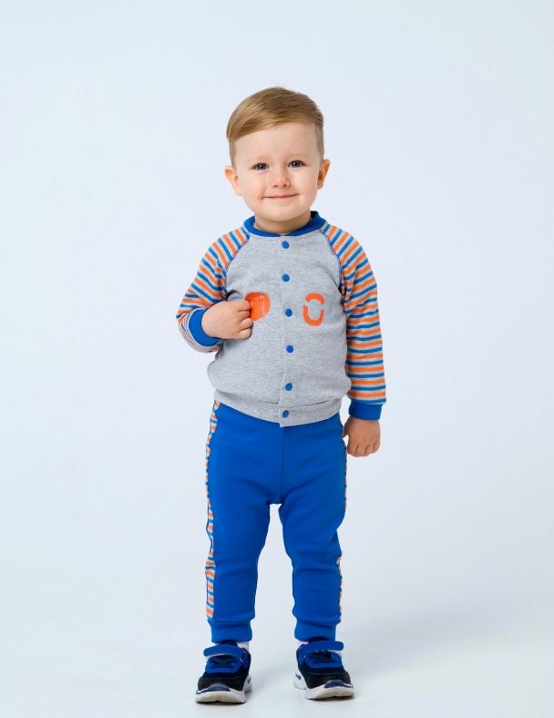 Костюм (кофта со стойкой+брюки) SMIL 117208 Светло-серый меланж