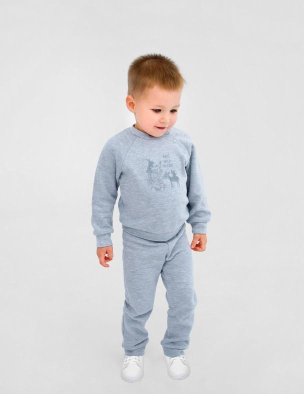 Костюм (кофта+ штанишки) SMIL 117251 Серый меланж - изображение 3