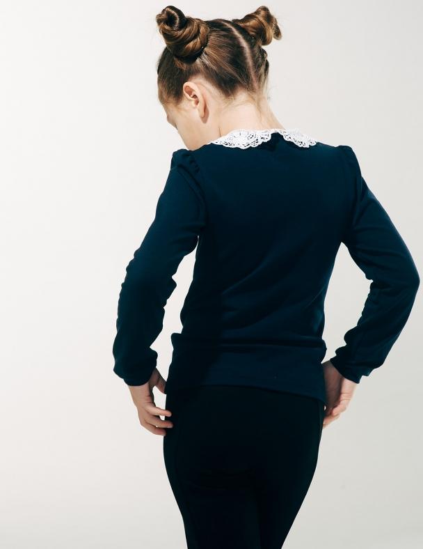 Блуза распашная с вязаным воротником SMIL 114603 Темно-синий