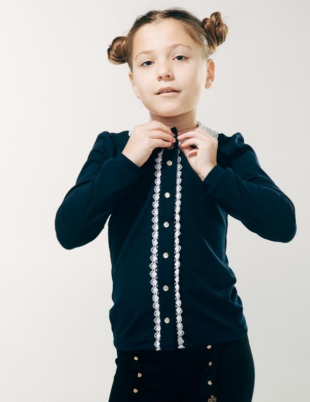Блуза распашная с вязаным воротником 114603 Темно-синий