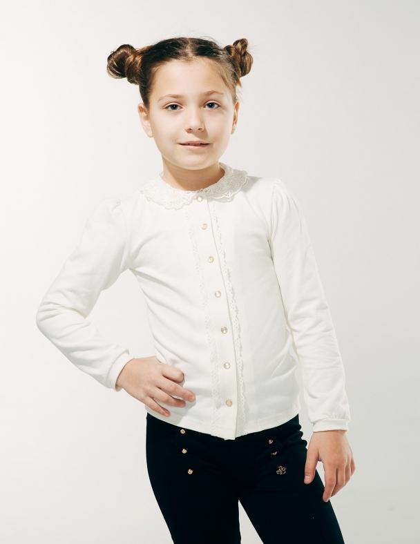 Блуза распашная с вязаным воротником SMIL 114603 Молочный