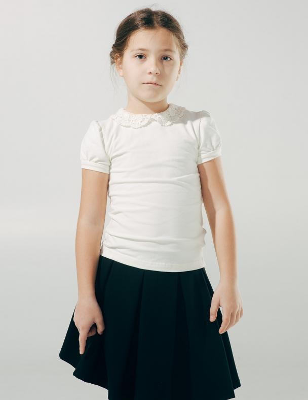 Блуза к.р. с вязаным воротником SMIL 114601 Молочный