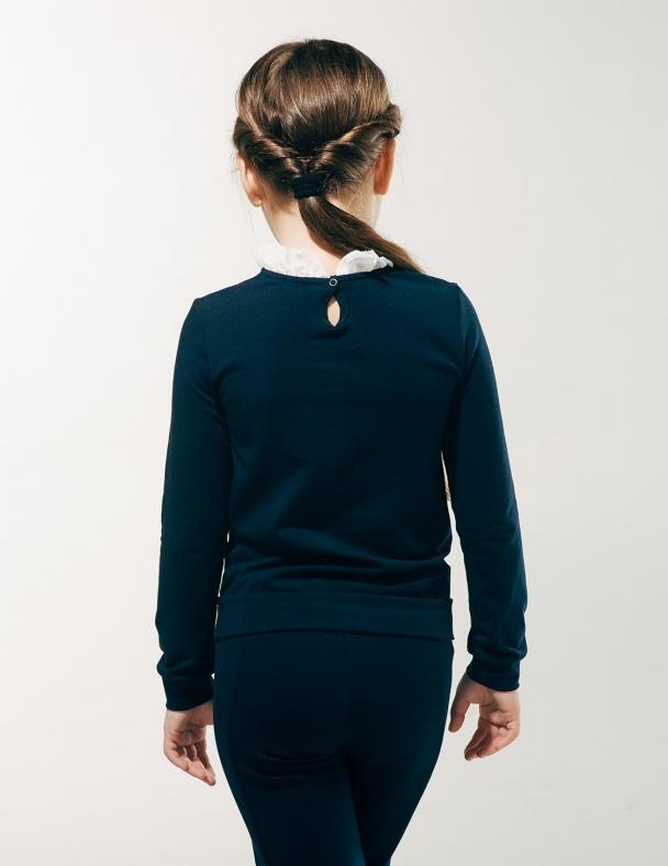 Блуза з манишкою 114607 Темно синій