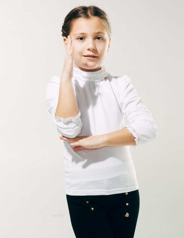 Блуза с кружевной горловиной SMIL 114613 Белый